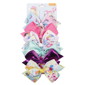 6 Pieces/Set Jojo Siwa JOJO BOWS Rainbow Printed Knot Ribbon Bow For Girls Handmade Boutique Hair Clip Children Hair Accessories