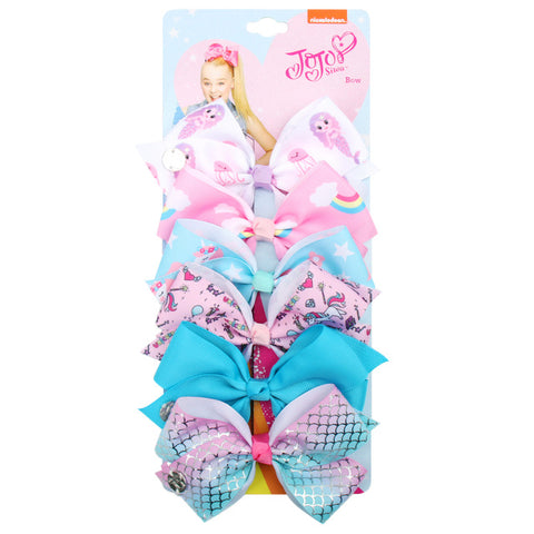 Image of 6 Pieces/Set Jojo Siwa JOJO BOWS Rainbow Printed Knot Ribbon Bow For Girls Handmade Boutique Hair Clip Children Hair Accessories