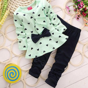 2019 New Baby Girl Spring Two Piece Outfits Fashion Autumn Kids Long Sleeve Clothes Girl Wave Ruffle Dress Suit Boutique Outfits