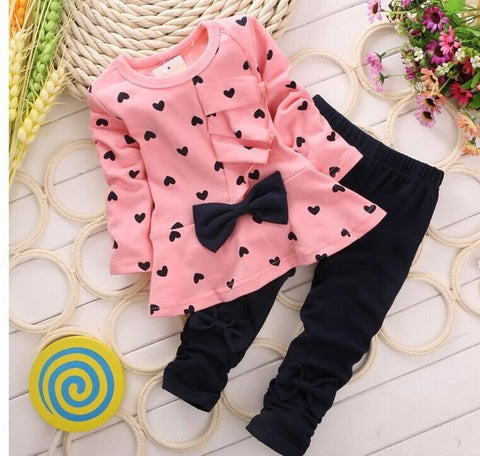Image of 2019 New Baby Girl Spring Two Piece Outfits Fashion Autumn Kids Long Sleeve Clothes Girl Wave Ruffle Dress Suit Boutique Outfits