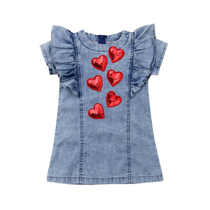 Infant Kid Baby Girl 3D Heart Party Denim Summer Dress Toddler Children Jeans Sequins Vestidos Princess Wedding Dresses Sundress
