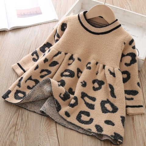 Image of Toddler Sweater Dress 2019 Kids Sweaters Winter Leopard Crystal Children Sweater Dress Toddler Dresses Sweater For Kids