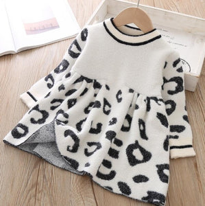 Toddler Sweater Dress 2019 Kids Sweaters Winter Leopard Crystal Children Sweater Dress Toddler Dresses Sweater For Kids