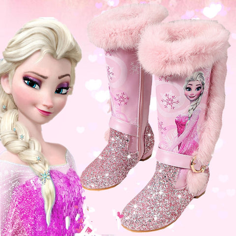 Image of Kids Princess shoes Children Cartoon Boots PU leather Sequin Winter Boots New girls Genuine Wool Warming Over Knee boots