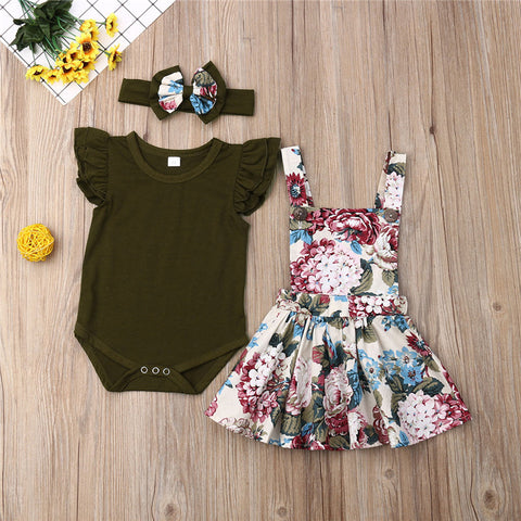 Image of Newborn 3pcs Clothes Set Summer Fly Sleeve Baby Girls Romper Tops Tutu Skirt Headband Outfits Clothes Set Baby Clothing
