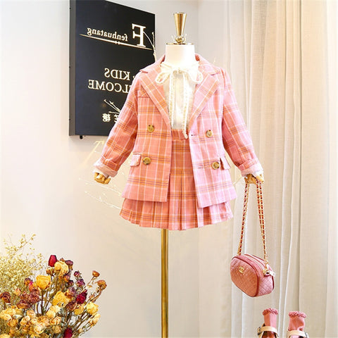 Image of Mihkalev 3 4 6 8 Year kids clothes girls boutique outfits Jacket+skirt 2pieces kids girls clothing sets children plaid tracksuit