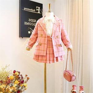 Mihkalev 3 4 6 8 Year kids clothes girls boutique outfits Jacket+skirt 2pieces kids girls clothing sets children plaid tracksuit