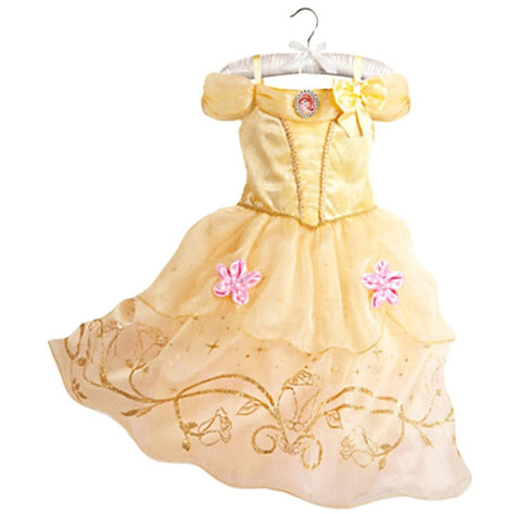 Image of Girls Party Dress Kids Cinderella Snow White Halloween Costume Baby Girl Princess Dress Christmas Rapunzel Aurora Belle Dress