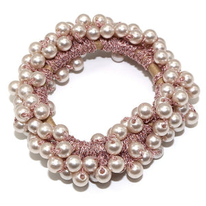 Elegant Pearl Beaded Girls Scrunchies
