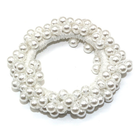 Image of Elegant Pearl Beaded Girls Scrunchies