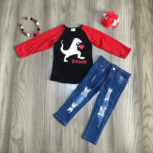 baby Girl clothes girls V-day outfit girls dinosaur print shirt with holed jean girls boutique clothes with accessories
