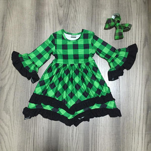 baby girls fall/winter dress girls green plaid dress children boutique dress with bow wholesale