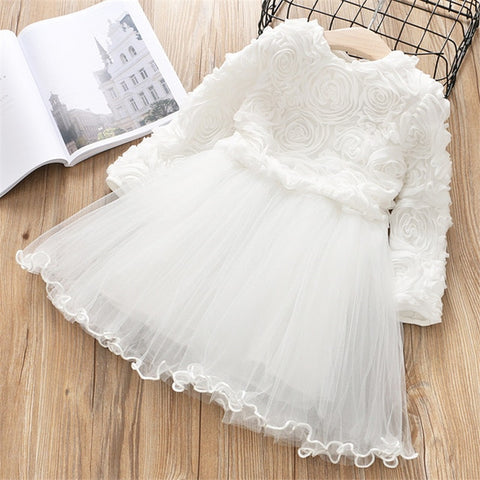 Image of Red Kids Dresses For Girls Flower Lace Tulle Dress Wedding Little Girl Ceremony Party Birthday Dress Children Autumn Clothing