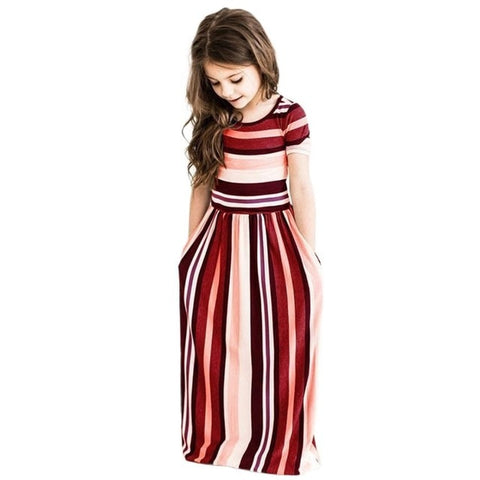 Image of Girls Bohemia Maxi Dress Casual Beach Party Stripe Long Dress with Pocket Casual Sundress Outfits Beachwear for Children