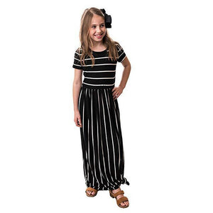Girls Bohemia Maxi Dress Casual Beach Party Stripe Long Dress with Pocket Casual Sundress Outfits Beachwear for Children