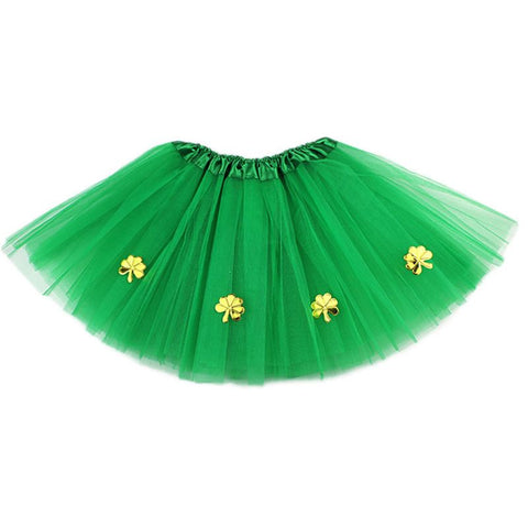 Adult Kids St Patrick Day Ballet 3 Layered Tulle Tutu Skirt with Gold Clovers