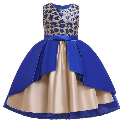 Image of Embroidery Girls Dress Gold beaded Flower kids dresses for girls princess Dress Informal Party girls Dress tulle vestidos Floral