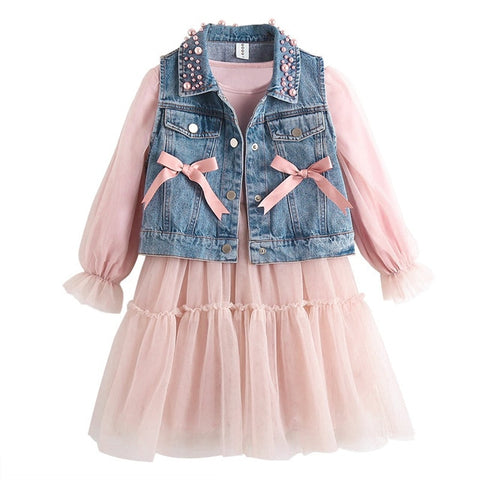 Image of Cowboy Jackets Girls Dress New Spring Long Sleeves Pink Lace Dress Kids Dresses For Girls Autumn Clothing Party Princess Costume