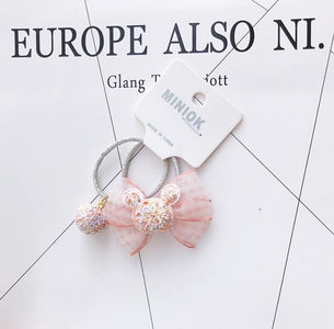 NEW Kids animal flower Ribbon hair bow elastic hair band girls scrunch rubber band toddlers Chiffon ties ring hair accessories