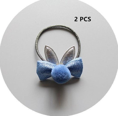 Image of NEW Kids animal flower Ribbon hair bow elastic hair band girls scrunch rubber band toddlers Chiffon ties ring hair accessories