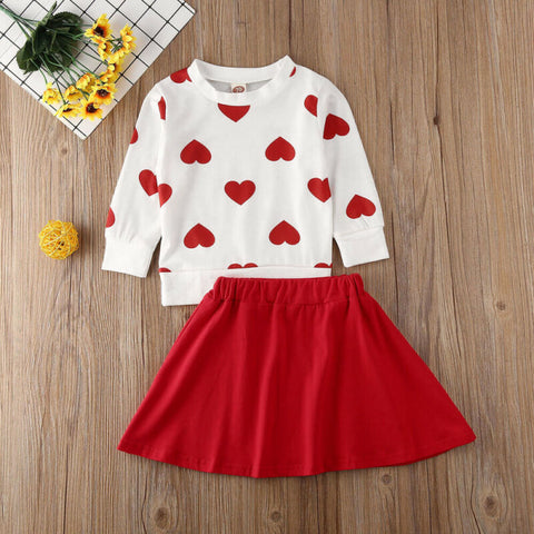 Image of New Toddler Kids Baby Girl Valentine 's Day Clothes Long Sleeve Love Heart Printed Shirt Tops Tutu Skirt 2Pcs Outfits Set