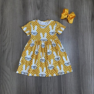 Baby - Boutique Girls Easter short sleeve dress with bunny print