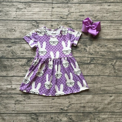 Image of Baby - Boutique Girls Easter short sleeve dress with bunny print