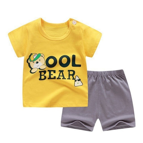 Image of Casual Toddler Outfits Baby Boy Summer Clothes Newborn Boy Clothing Set Sports T-shirt+ Shorts Suits Leaves Print Clothes