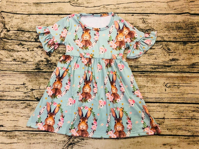 Easter Boutique Girls Dress With Rabbit Print