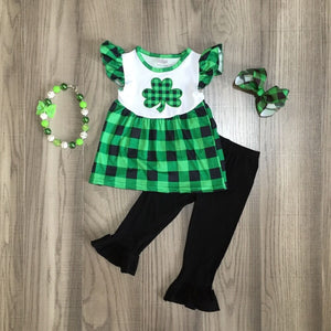 baby girls St Patrick clothes girls green outfits plaid clover top with red trouser girls outfit with accessories