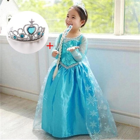 Image of Fancy 4-10y Baby Girl Princess Elsa Dress for Girls Clothing Wear Cosplay Elza Costume Halloween Christmas Party With Crown