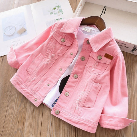Image of 2020 spring girls denim jackets coats baby jeans outfit white pink kids clothing children outerwear casual boutiques