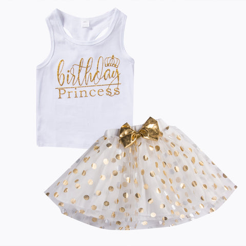 Image of Kid Baby Girl Birthday Outfit Top T-shirt Party Skirt Princess Dress Set Clothes Hot Dress For Girls Waistcoat Mini Dot Dress