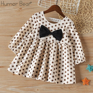 Humor Bear 2020 Girls Dress Children Clothes Autumn Long Sleeve Flowers Printing Design Princess Dresses For 3-7