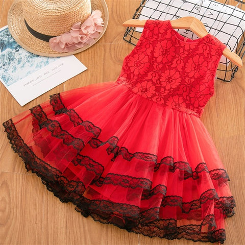 Image of Girls Dresses 2019 Fashion Girl Dress Lace Floral Design Baby Girls Dress Kids Dresses For Girls Casual Wear Children Clothing
