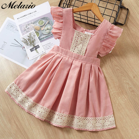 Image of Melario Children Party Dress 2020 Summer Fashion Girls Flying Sleeve Lace Pink Color Clothes Dress Kids Casual Mini Dress