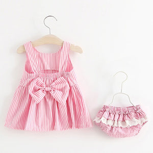 Melario Baby Clothing Sets 2020 Summer Sleeveless Dress Girls Three Piece Sets Short Pants+Dress Set Stripe Patten For Baby 6-24