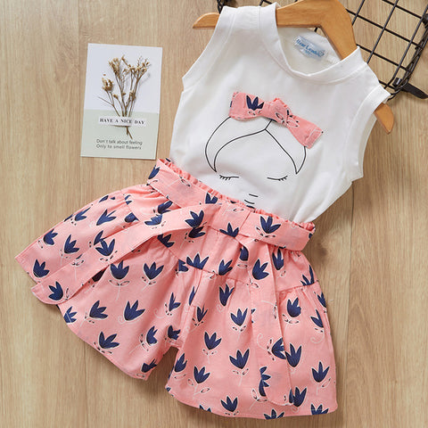 Keelorn Girls Clothing Sets 2020 Brand Summer Fashion Chiffon short sleeve T-shirt + shorts Infant girls outfits kids clothes