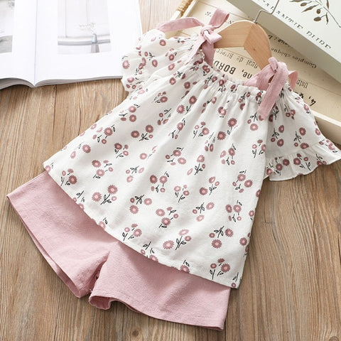 Image of Keelorn Girls Clothing Sets 2020 Brand Summer Fashion Chiffon short sleeve T-shirt + shorts Infant girls outfits kids clothes