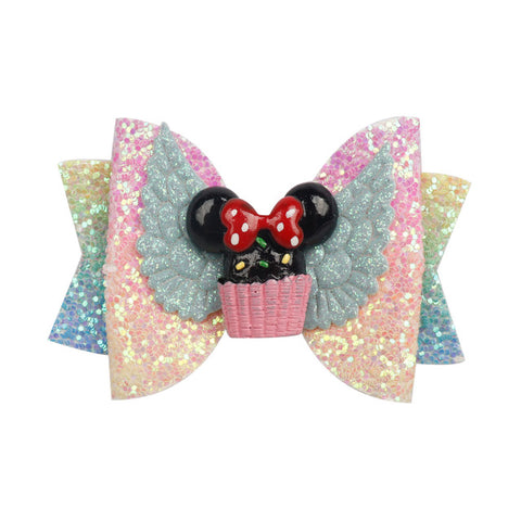 Image of ncmama Hair Accessories Hair Bows for Girls Glitter Hair Clips 3inch Cute Elk Unicorn Hairpins Kids Christmas Hair Accessories
