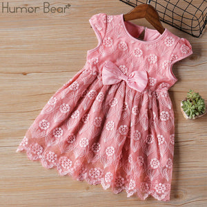 Humor Bear Girls Dress 2020 New Brands Baby Dresses Tassel Hollow Out Design Princess Dress Kids Clothes Children's Clothing