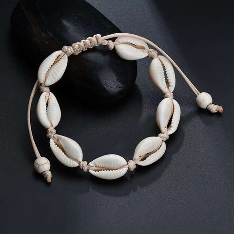 Image of Hot Sale Hand Knit shell bracelet Handmade beading natural vsco girl seashell bracelet scallop Beach style Women Accessories