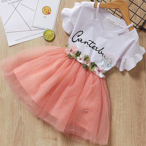 Melario Summer Girls Casual Dresses Fashion Princess Dresses Flowers Pink Lace Party Dress Wedding Dress Flower Princess Dress