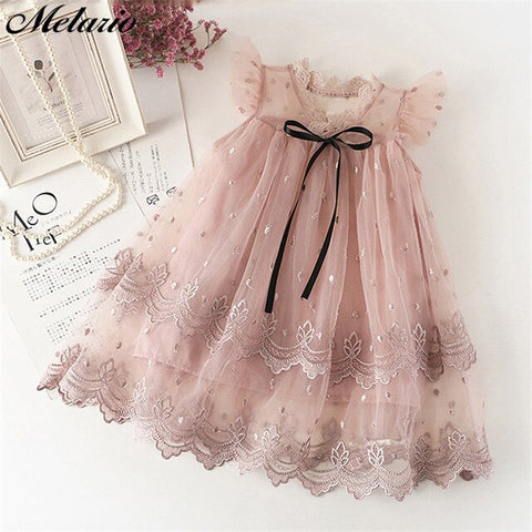 Image of Melario Summer Girls Casual Dresses Fashion Princess Dresses Flowers Pink Lace Party Dress Wedding Dress Flower Princess Dress