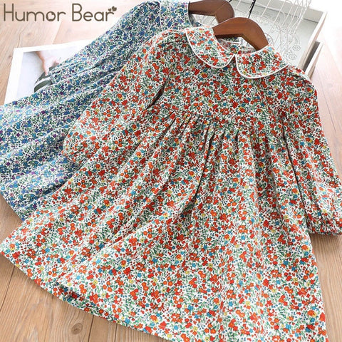 Image of Humor Bear Girls Dress 2019 New Autumn College Winds Style Girls Clothing Long Sleeve Lapel Lattice Pattern Children Kids Dress