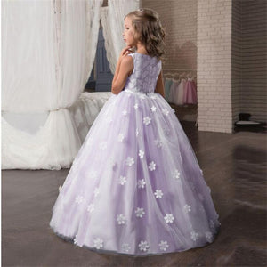 Fancy Flower Long Prom Gowns Teenagers Dresses for Girl Children Party Clothing Kids Evening Formal Dress for Bridesmaid Wedding