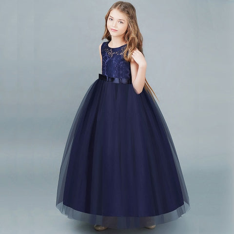 Image of Fancy Flower Long Prom Gowns Teenagers Dresses for Girl Children Party Clothing Kids Evening Formal Dress for Bridesmaid Wedding