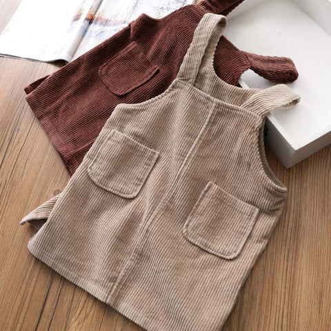 Image of Autunm Winter Corduroy Girls sundress Loose Braces Dress Baby Girl Strap Dresses For Girls Color Overalls Kids Girls Jumpsuit