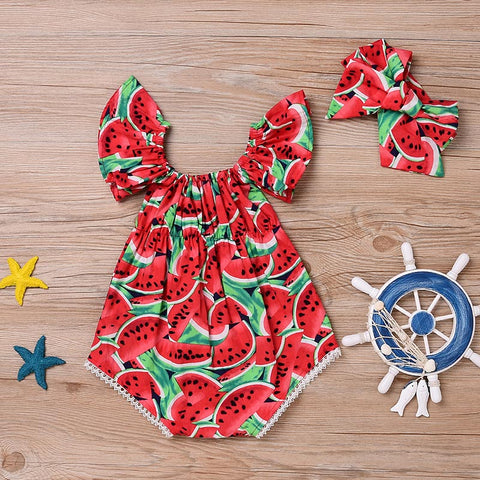 Image of Children Kids Frill Sleeves Red Watermelon Printed Jumpsuit Headband for Summer High Quality