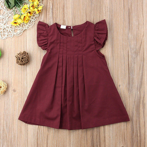 Image of Baby Girls Dress Summer Baby Dress Frill Sleeve Newborn Infant Dresses Cotton Solid Sleeveless Toddler Dresses Red YellowA